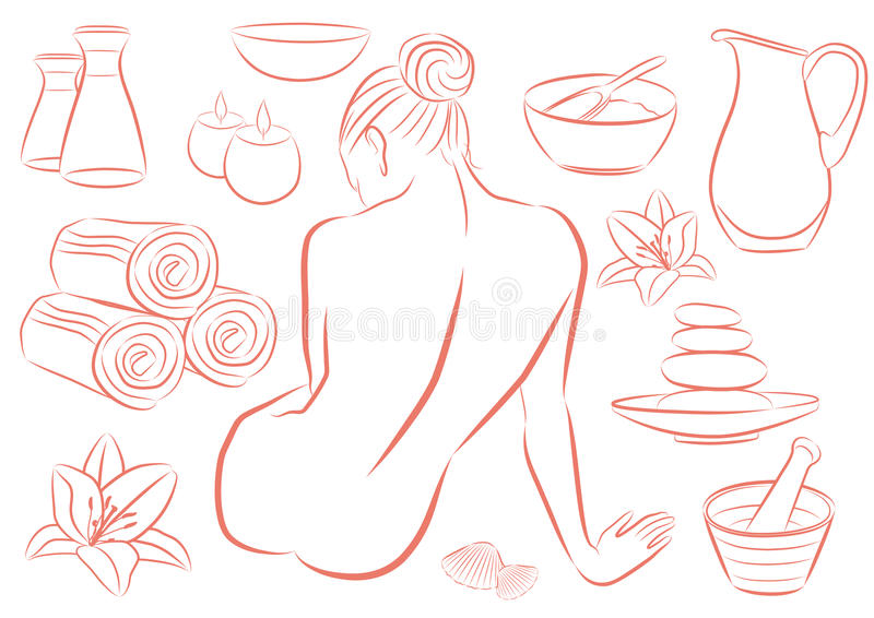Mujer en balneario stock de ilustración
