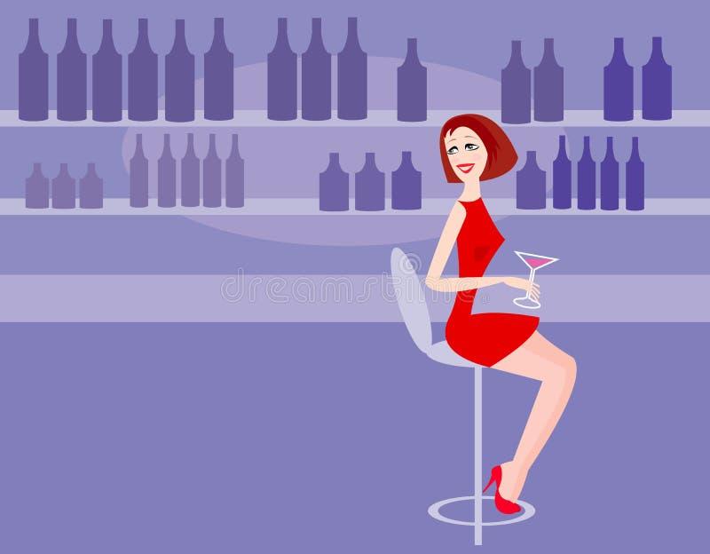 Mujer en barra ilustración del vector