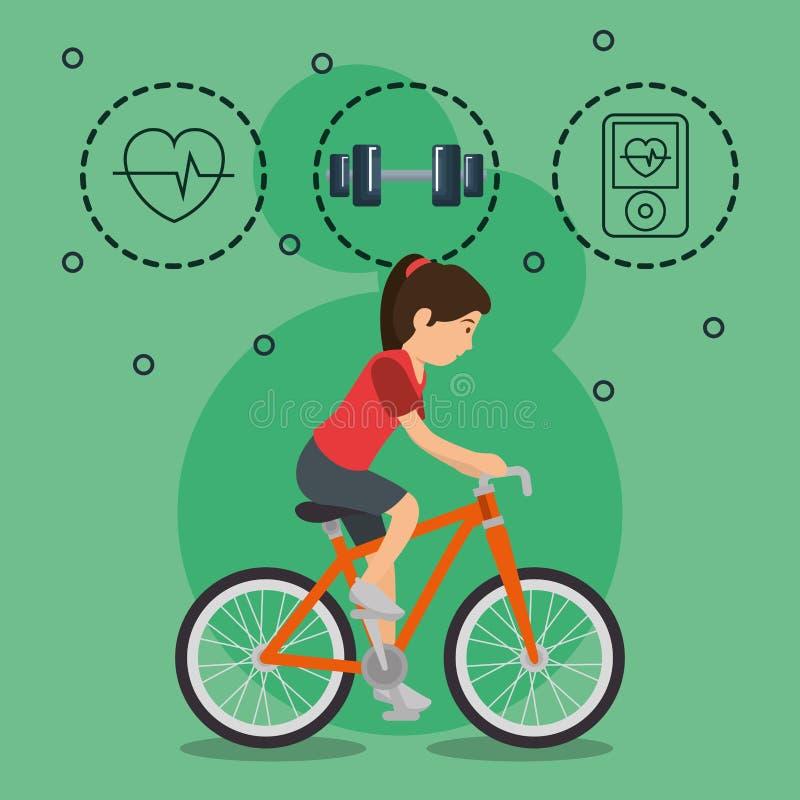 Mujer en bicicleta con los iconos de los deportes stock de ilustración