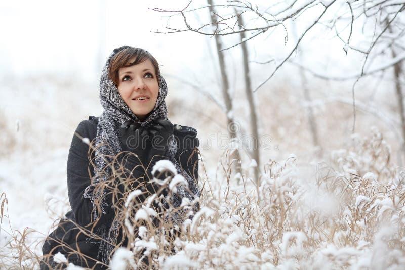 Mujer en bosque del invierno imagenes de archivo