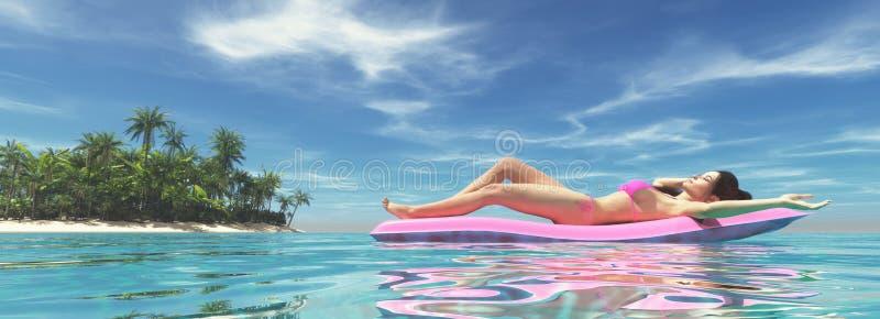 Mujer en cama de aire rosada foto de archivo