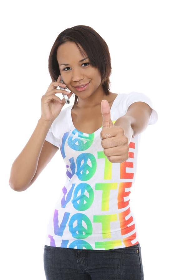 Mujer en camisa del voto fotos de archivo