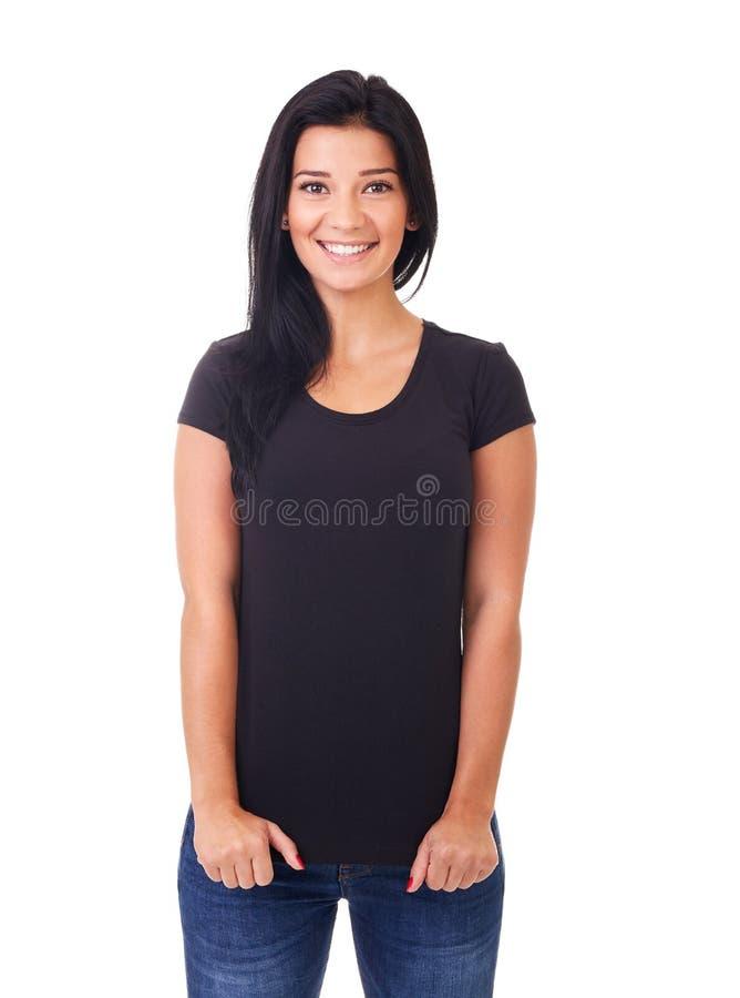 Mujer en camiseta negra fotos de archivo