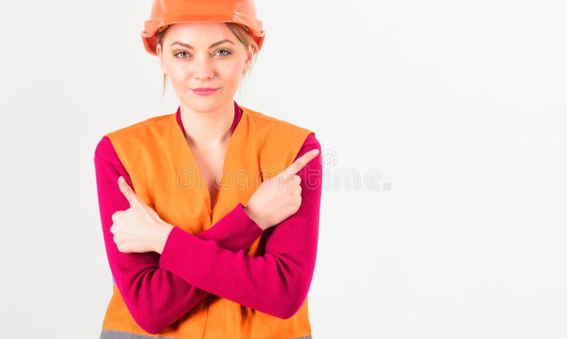 Mujer en cara sonriente, arquitecto, ingeniero, fondo blanco imagen de archivo libre de regalías