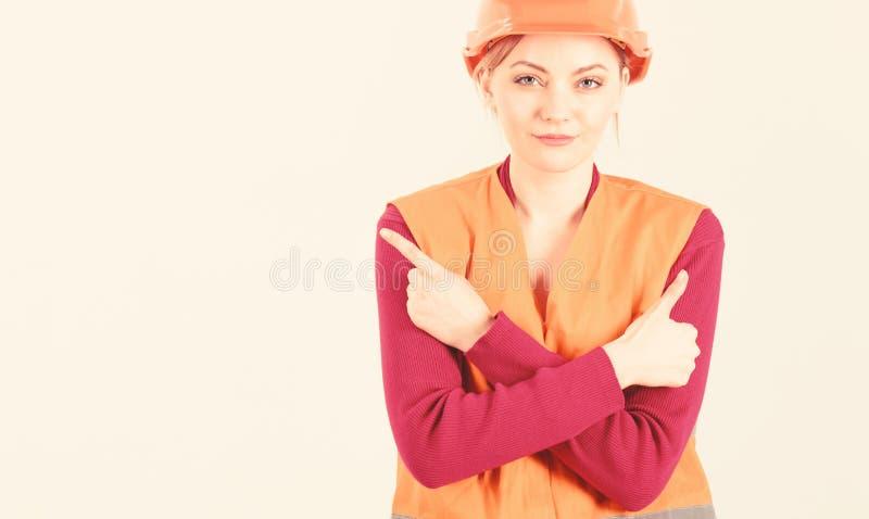 Mujer en cara sonriente, arquitecto, ingeniero, fondo blanco fotografía de archivo