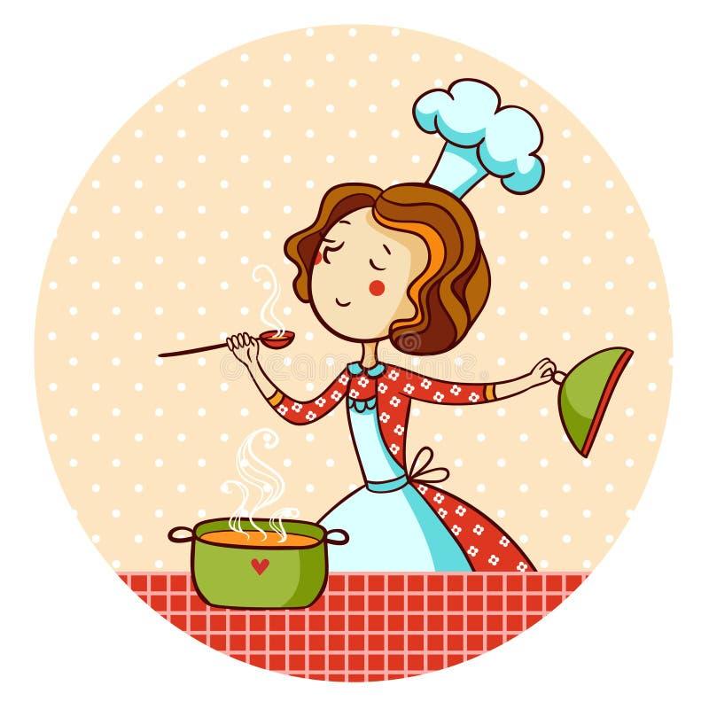 Mujer en cocina. Cocinero. stock de ilustración