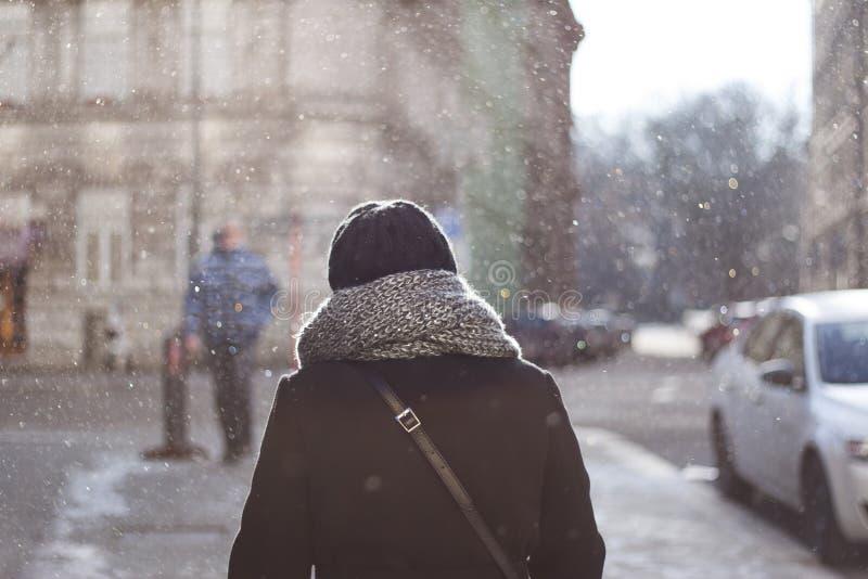 Mujer en cristales de la nieve imagenes de archivo