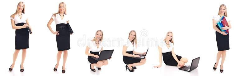 Mujer en diversas actitudes de la oficina aisladas en blanco fotografía de archivo libre de regalías