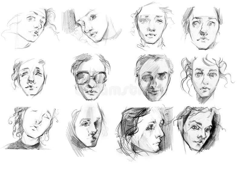 Mujer en diversos bosquejos del lápiz de las imágenes stock de ilustración