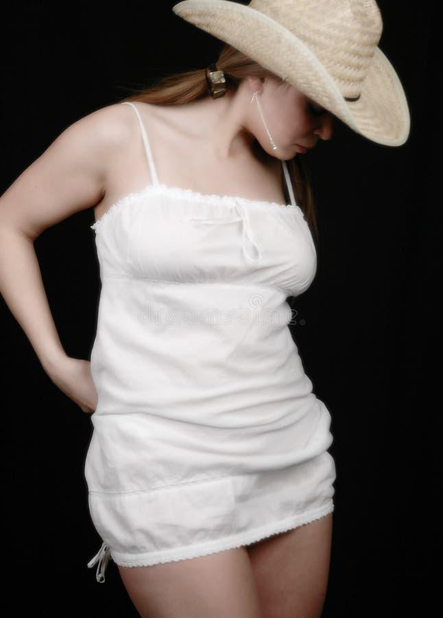 Mujer En Dress-2 Blanco Imagen de archivo libre de regalías