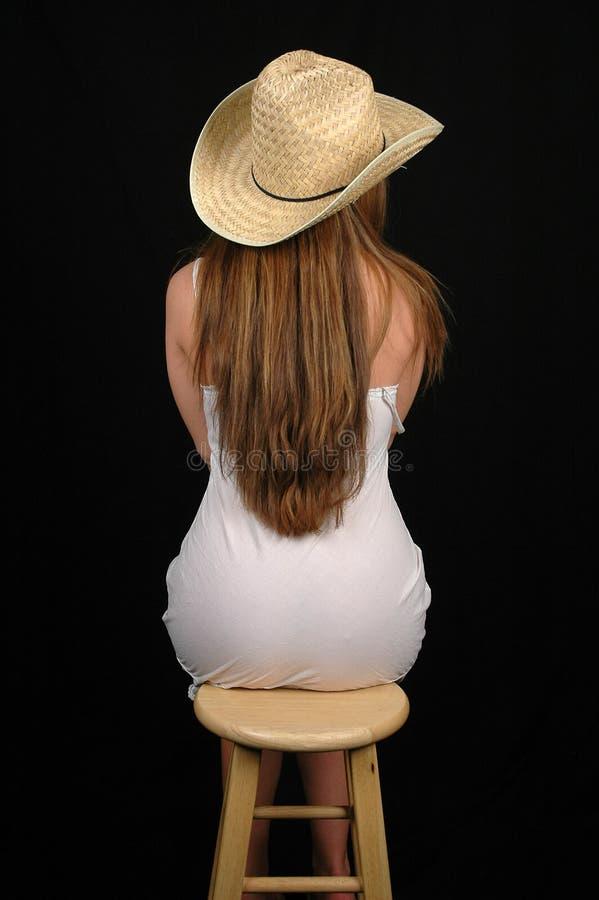 Mujer en dress-6 blanco fotos de archivo