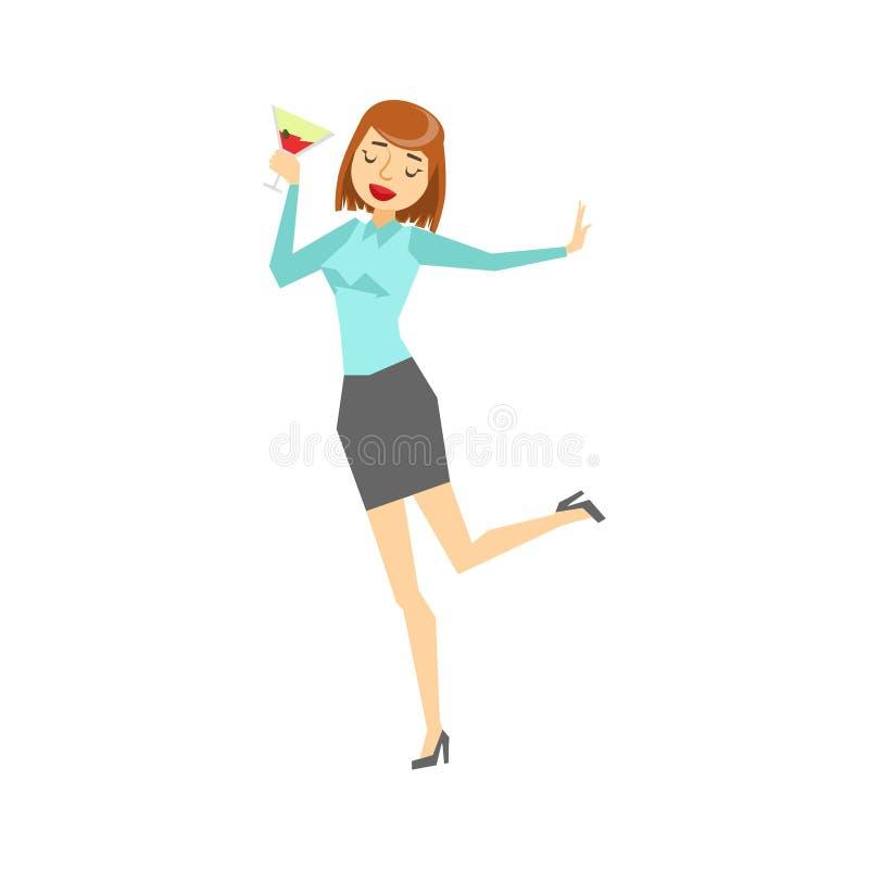 Mujer en el baile de la ropa y de la copa de vino de la oficina, parte de gente bebida divertida que se divierte en la serie del  ilustración del vector