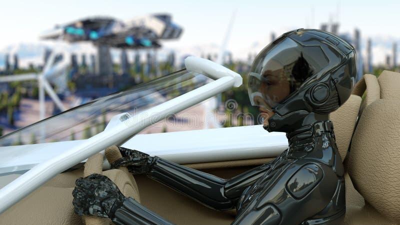 Mujer en el coche futurista que vuela sobre la ciudad, ciudad Transporte del futuro Silueta del hombre de negocios Cowering repre stock de ilustración