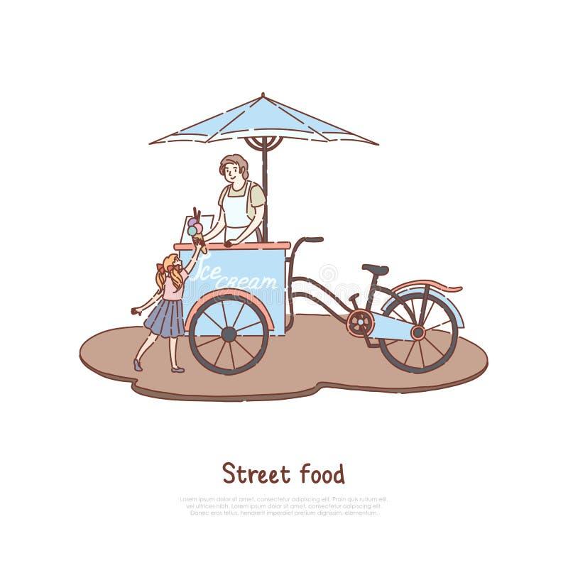 Mujer en el delantal que vende el postre dulce, el vendedor y al pequeño niño, lechería deliciosa, refresco del verano, bandera d ilustración del vector