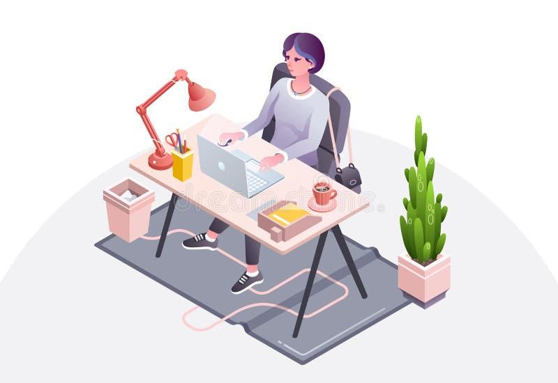 Mujer en el ejemplo del vector de la oficina del lugar de trabajo stock de ilustración