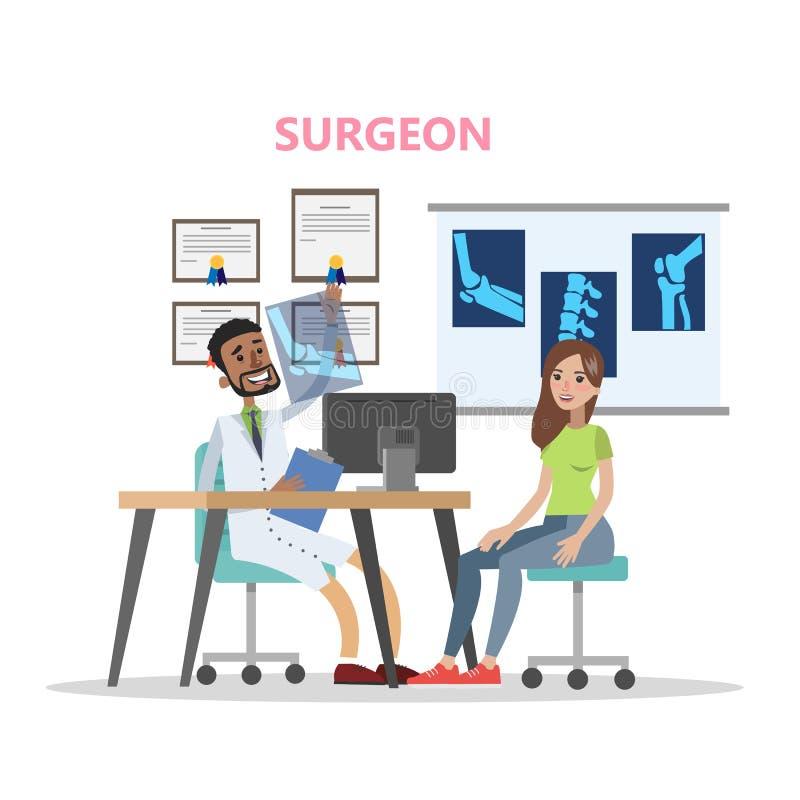 Mujer en el hospital en la consulta con el cirujano ilustración del vector