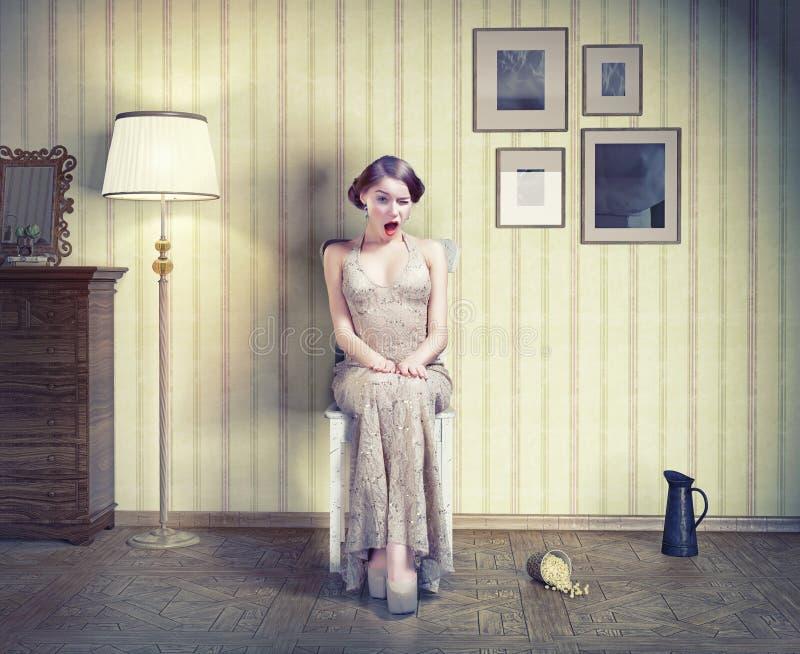 Mujer en el interior de la vendimia stock de ilustración