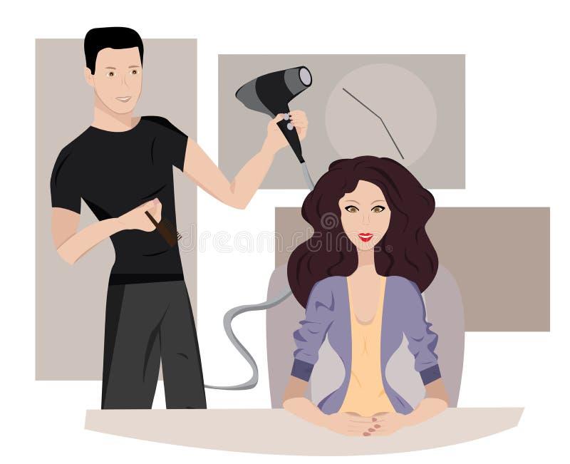 Mujer en el peluquero stock de ilustración