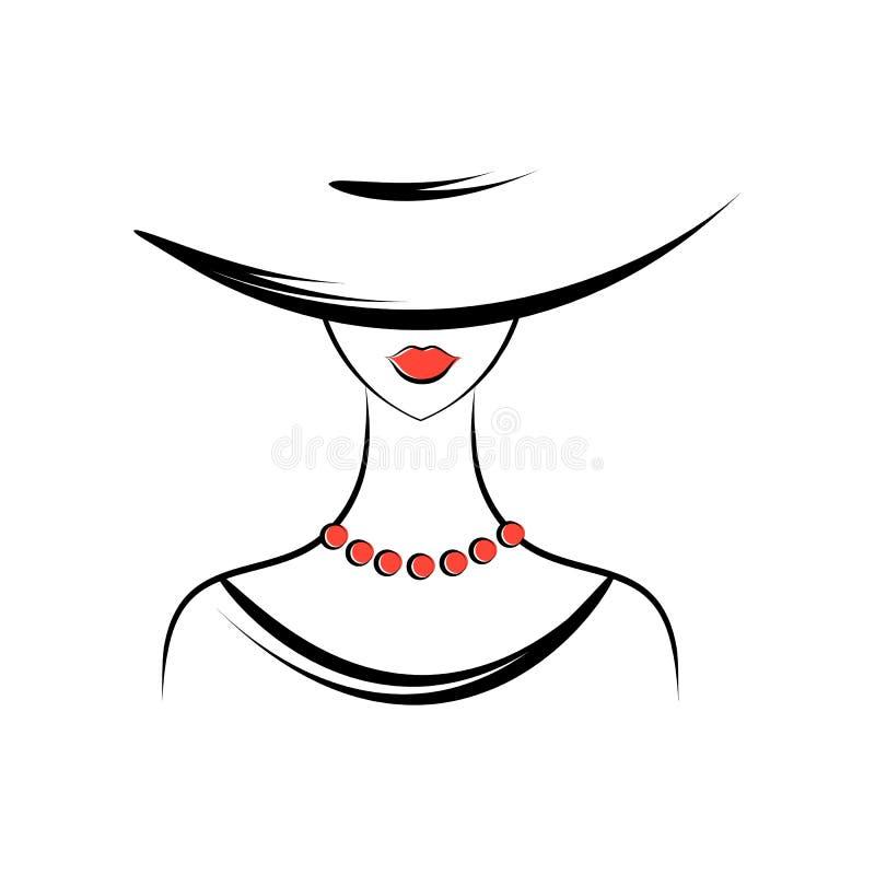 Mujer en el sombrero stock de ilustración