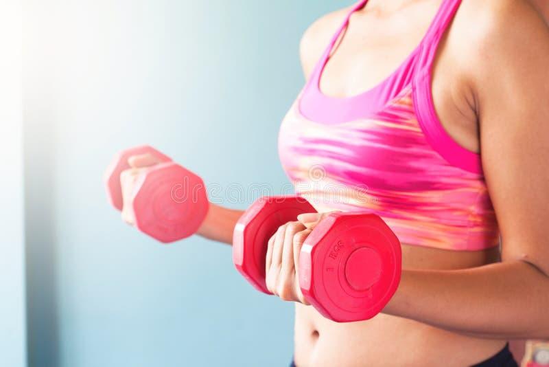 Mujer en el sujetador rosado del deporte que lleva a cabo pesas de gimnasia rojas entrenamiento foto de archivo libre de regalías
