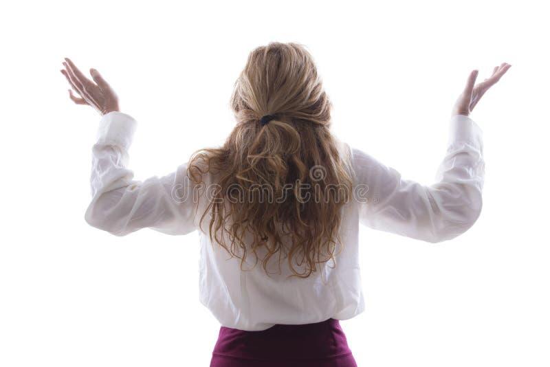 Mujer en el suyo detrás con los brazos imagen de archivo libre de regalías