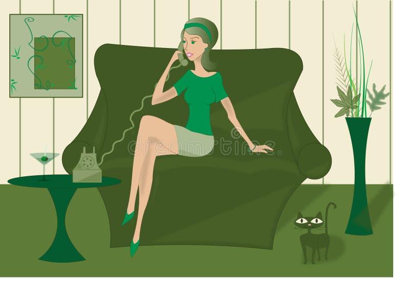 Mujer en el teléfono stock de ilustración