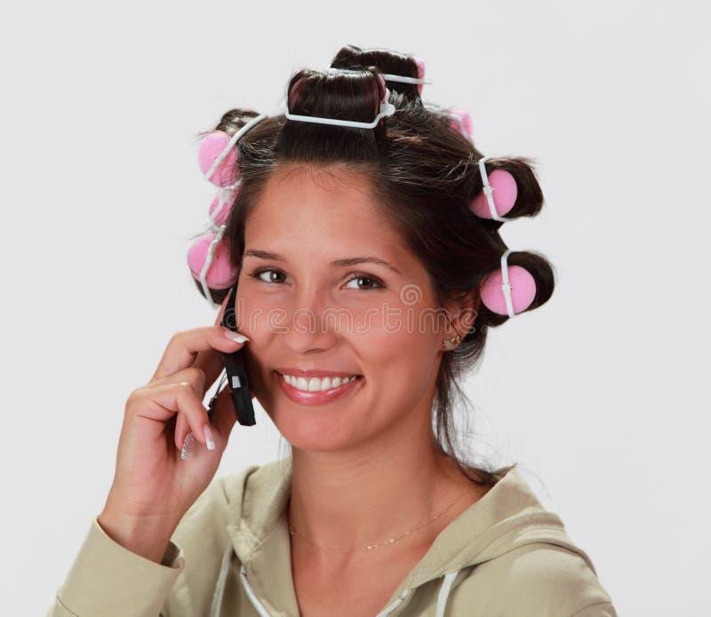 Mujer en el teléfono imágenes de archivo libres de regalías