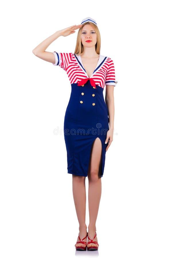 Mujer en traje del marinero fotografía de archivo