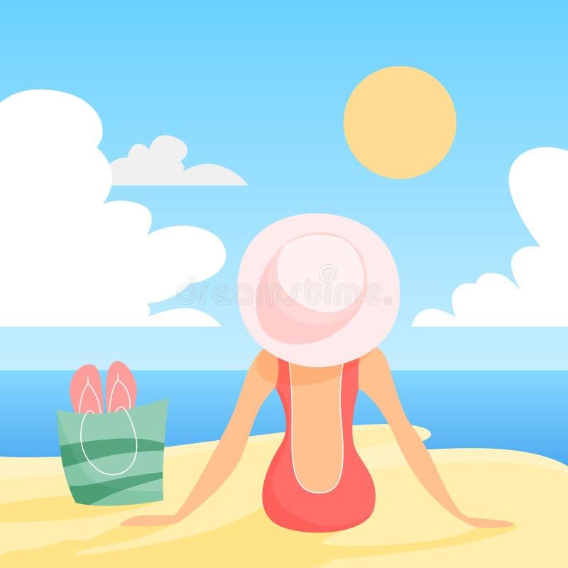 Mujer en el traje y el sombrero del swimmng que se sientan en la playa del verano libre illustration