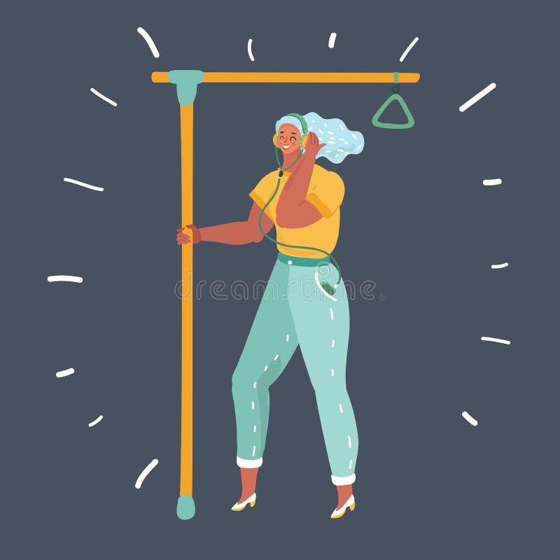 Mujer en el transporte público stock de ilustración