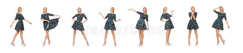 Mujer en el vestido de flores azul marino aislado en blanco fotografía de archivo