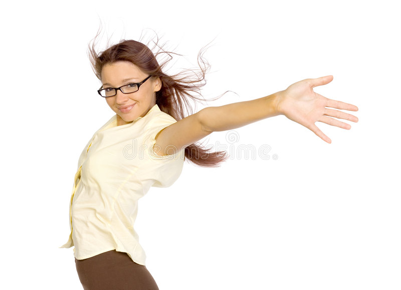 Mujer en el viento imagen de archivo libre de regalías