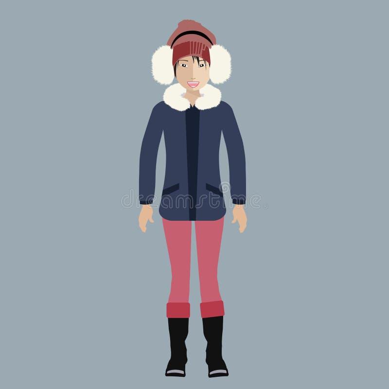 Mujer en equipo del invierno stock de ilustración