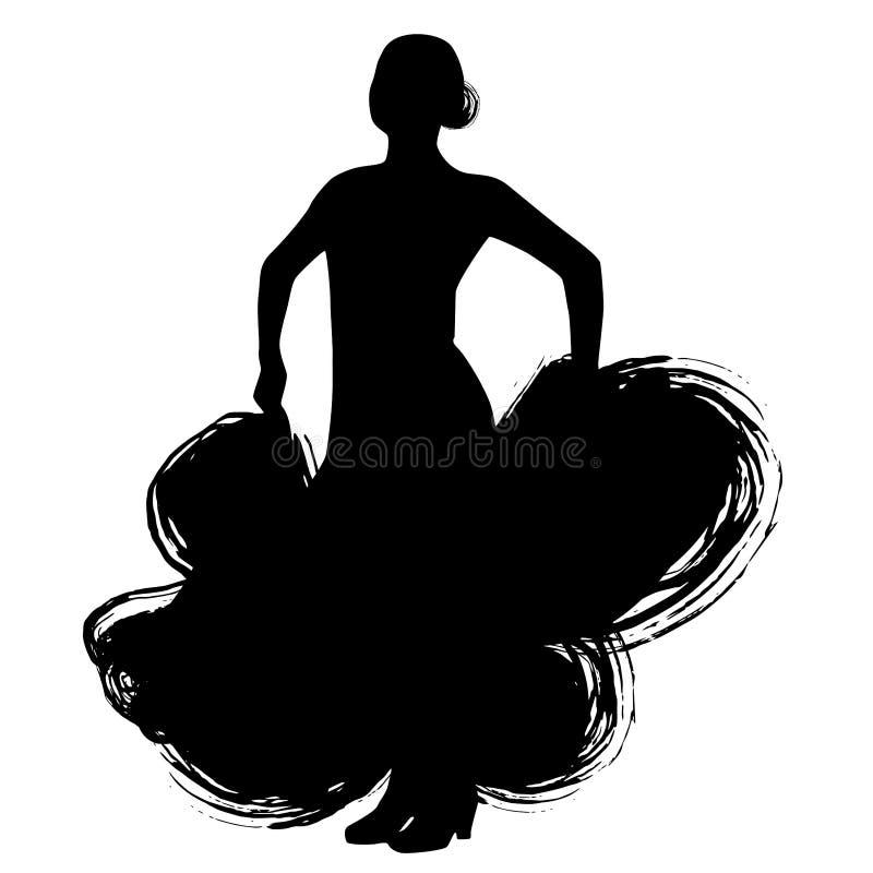 Mujer en estancia larga del vestido en actitud del baile regiones de Spanish del bailarín del flamenco de Andalucía, Extremadura  ilustración del vector