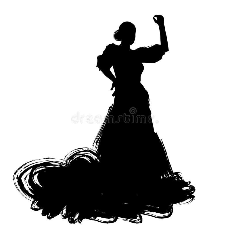 Mujer en estancia larga del vestido en actitud del baile regiones de Spanish del bailarín del flamenco de Andalucía, Extremadura  stock de ilustración