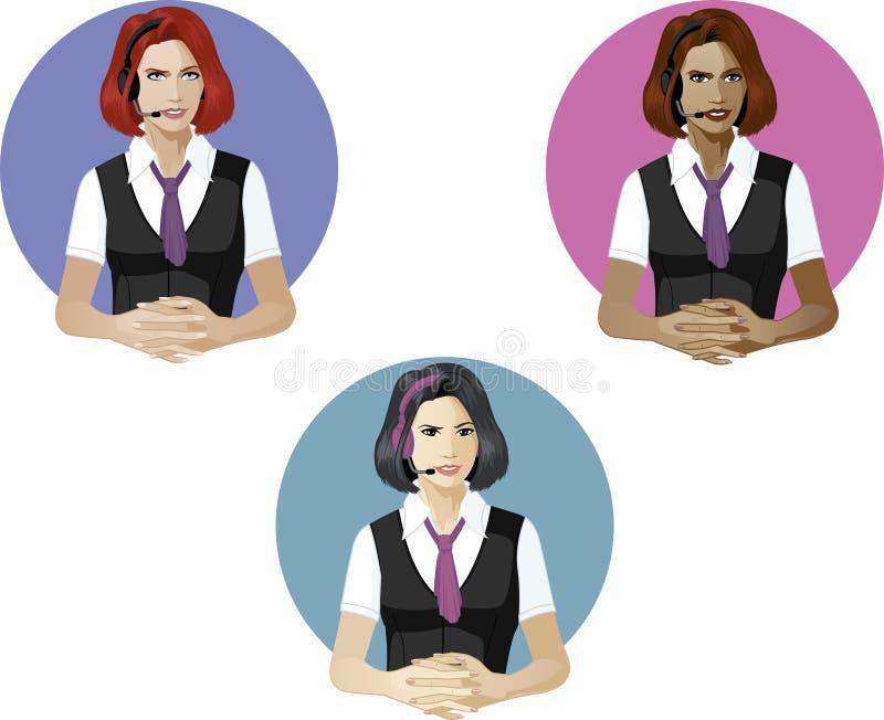 Mujer en experto del soporte técnico del uniforme del operador ilustración del vector