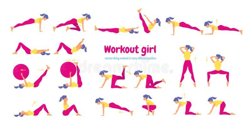 Mujer en gimnasia Sistema de iconos del gimnasio en estilo plano aislados en b blanco libre illustration