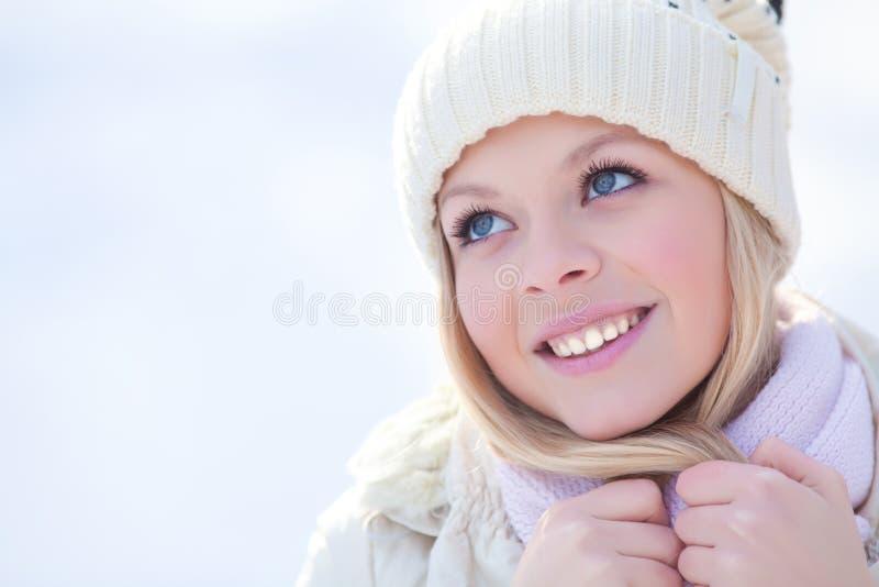 Mujer en invierno fotografía de archivo