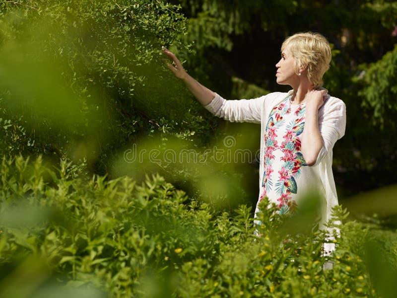 Mujer en jardín imagen de archivo libre de regalías