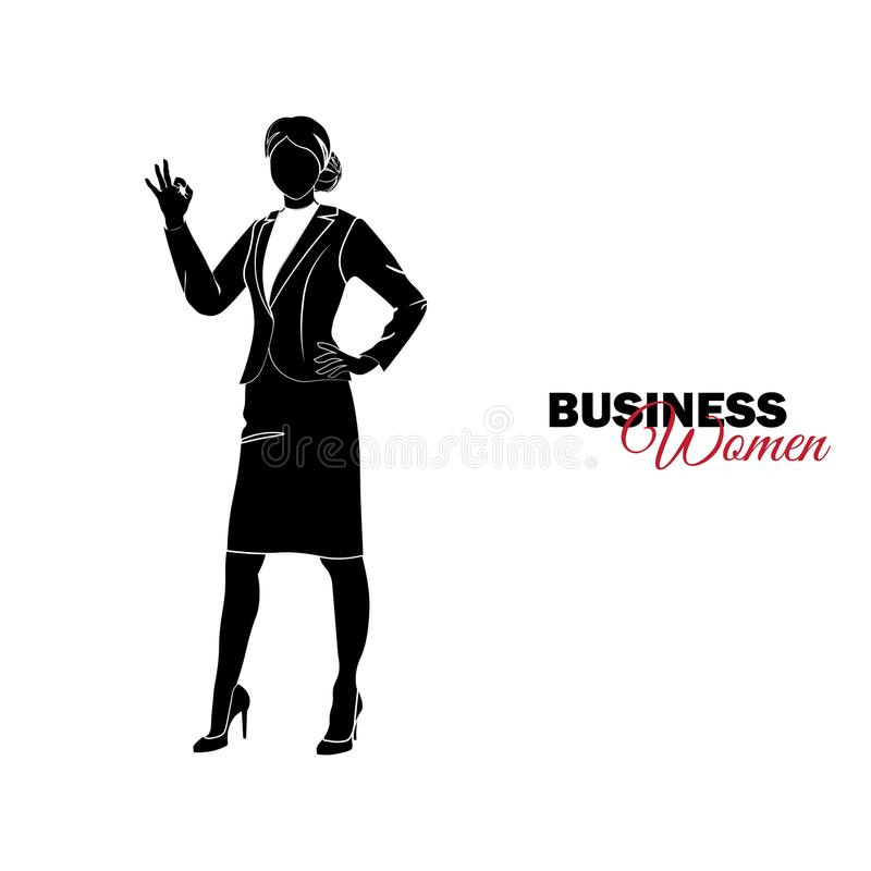 Mujer en juego de asunto Empresaria que muestra la autorización del gesto libre illustration