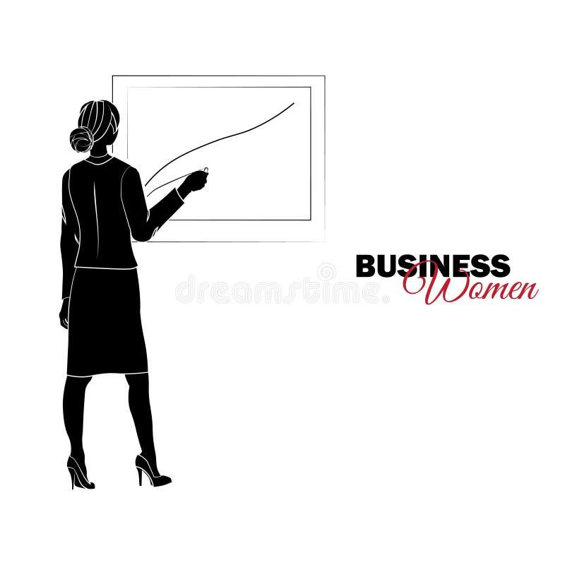 Mujer en juego de asunto La empresaria dibuja una carta libre illustration
