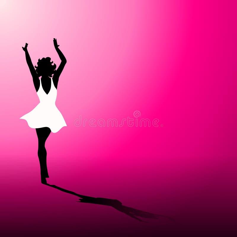Mujer en la alineada blanca en color de rosa caliente stock de ilustración