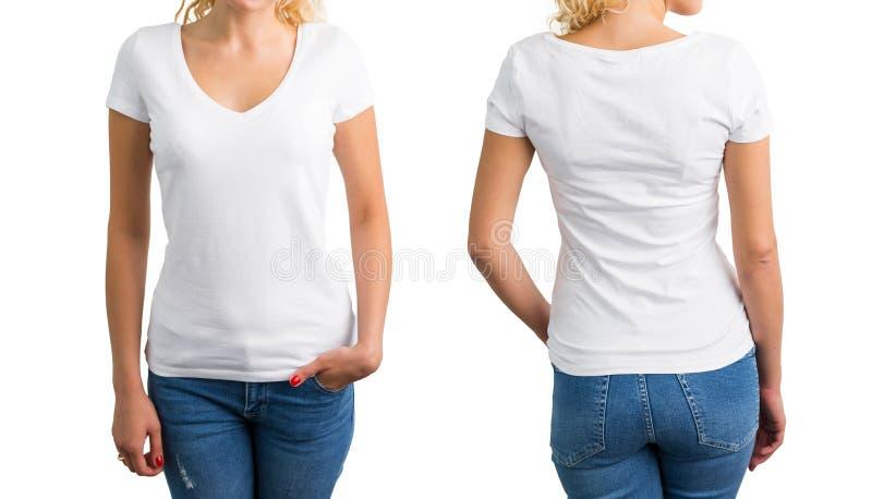 Mujer en la camiseta, el frente y la parte posterior con cuello de pico blancos foto de archivo