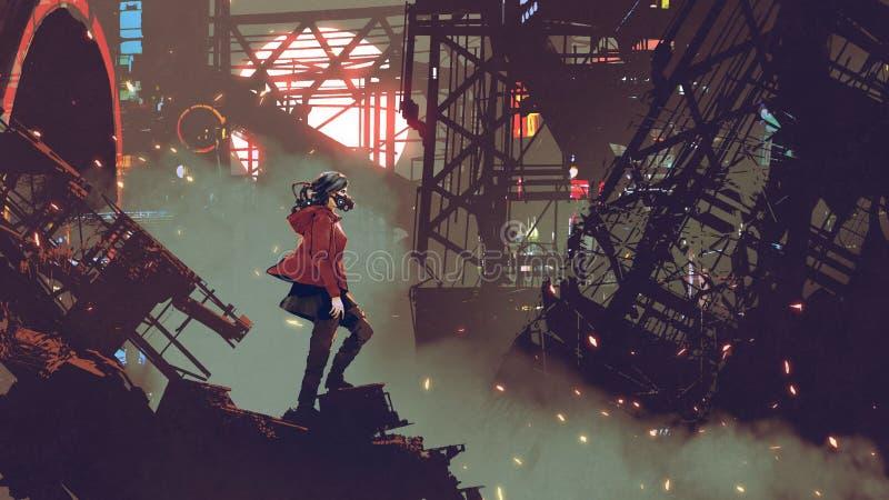 Mujer en la ciudad del Cyberpunk ilustración del vector