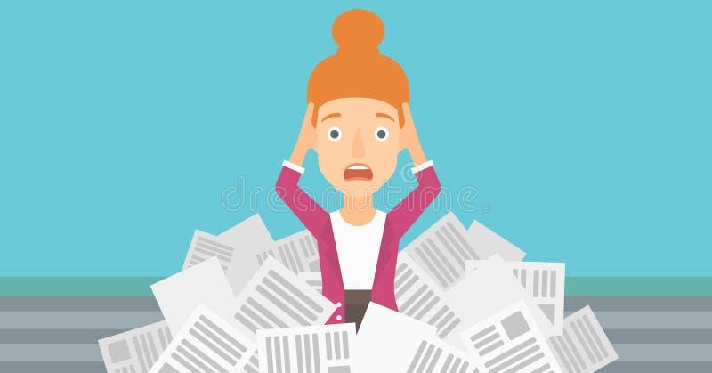 Mujer en la pila de periódicos stock de ilustración