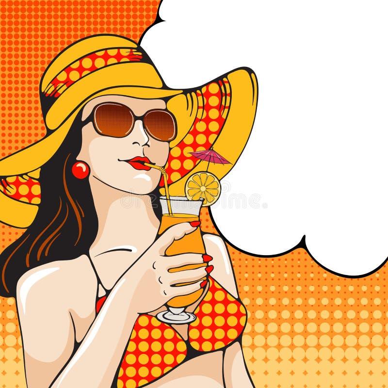 Mujer en la playa ilustración del vector