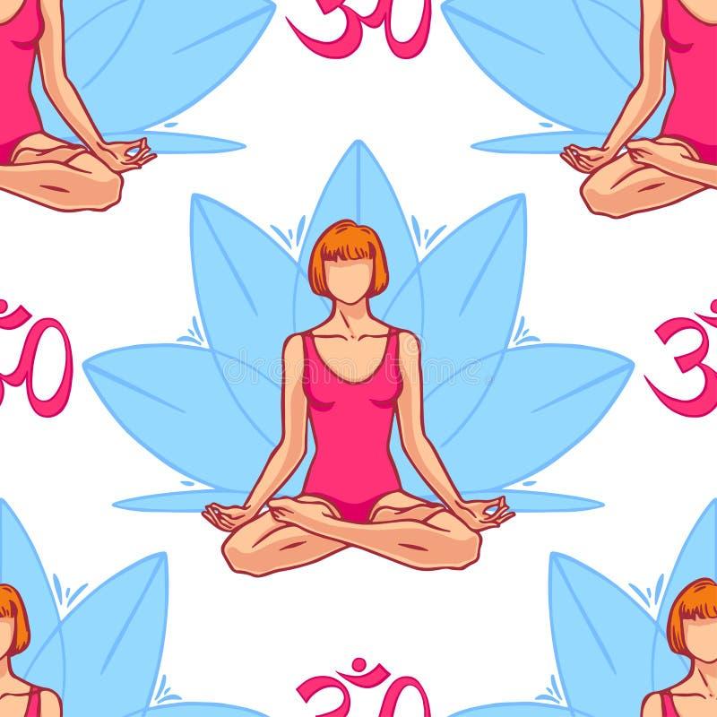 Mujer en la posición de loto libre illustration