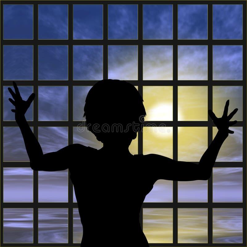 Mujer en la prisión ilustración del vector