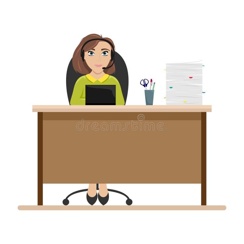 Mujer en la tabla con los auriculares Empleado del centro de atenci?n telef?nica Ejemplo plano del vector stock de ilustración