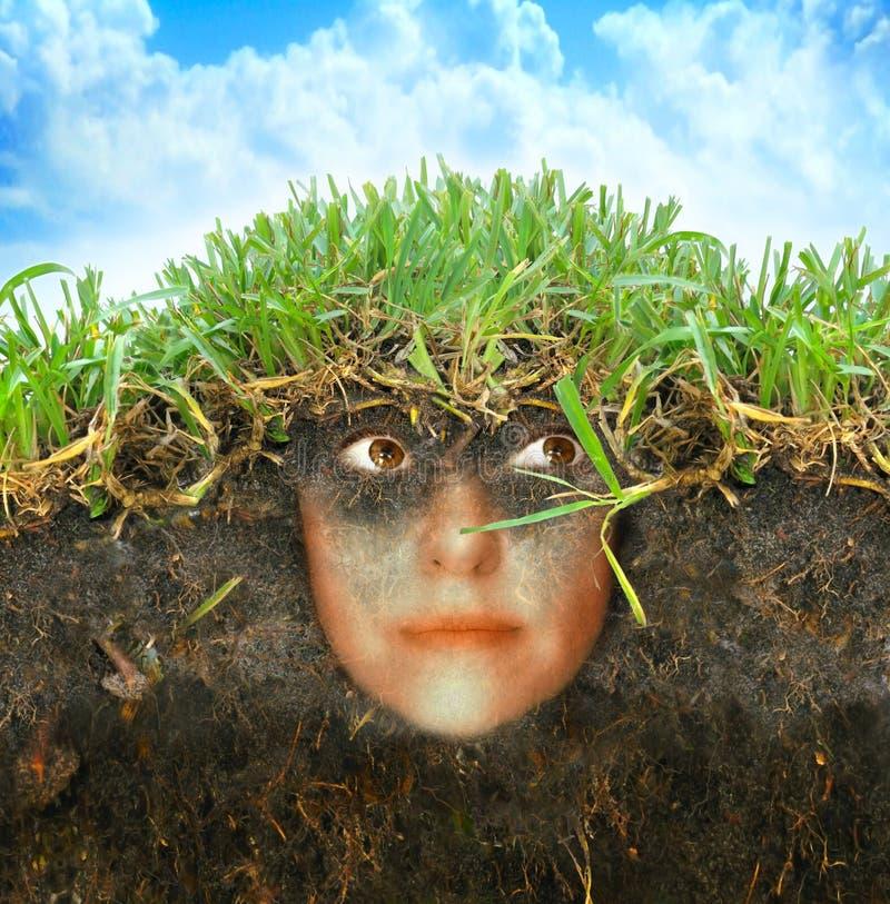 Mujer en la tierra stock de ilustración
